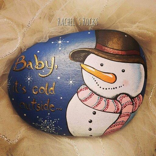 Snowman painted rock.