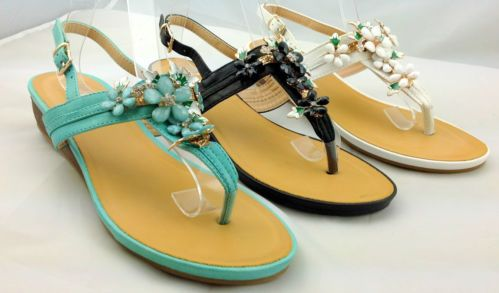 Ladies Girls Flat Jewelled Diamanté Gladiator Toe Post Flip Flop Sandals  Available in Green,Black Or White   £22.99