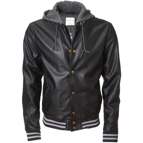 Hooded Faux Leather Varsity Jacket (195 BRL) ❤ liked on Polyvore featuring outerwear, jackets, pocket jacket, letterman jacket, college jacket, varsity style jacket and varsity jacket