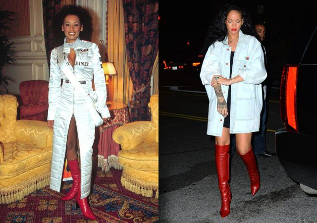 Scary Spice and Rihanna are basically fashion twins, as illustrated by their penchant for a red heeled boot and an oversized silver jacket