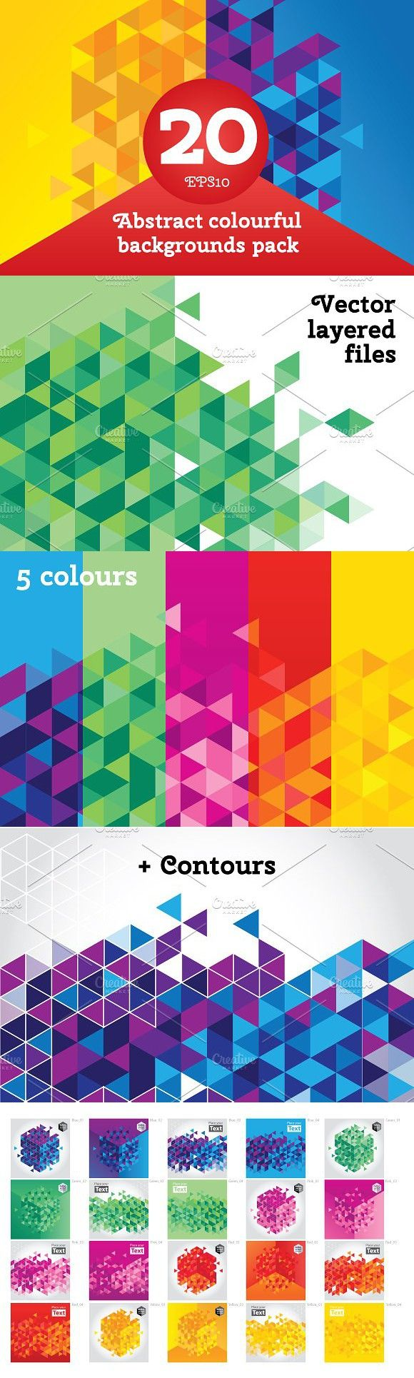 20 Abstract triangle backgrounds. Patterns