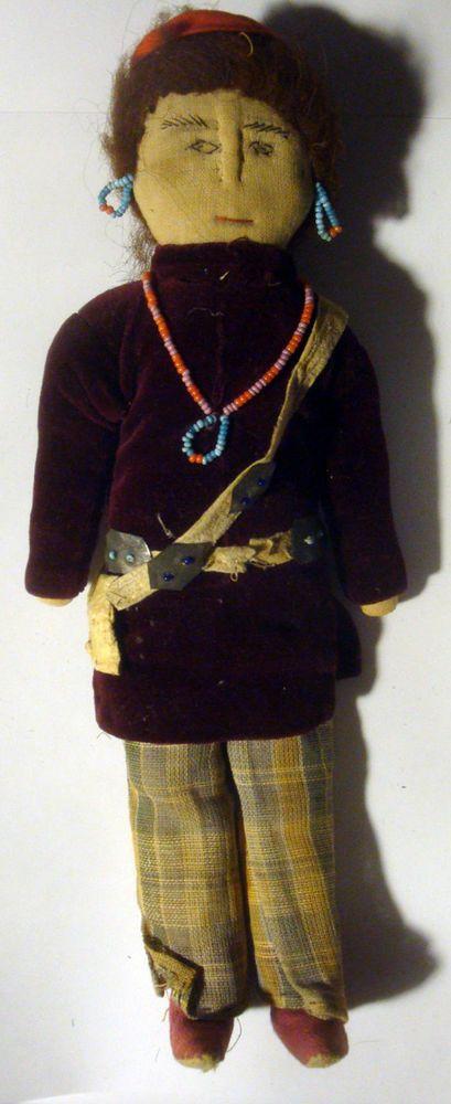 Vintage NATIVE AMERICAN DOLL Handstitched Beads Leather Bag Embellished, Navajo