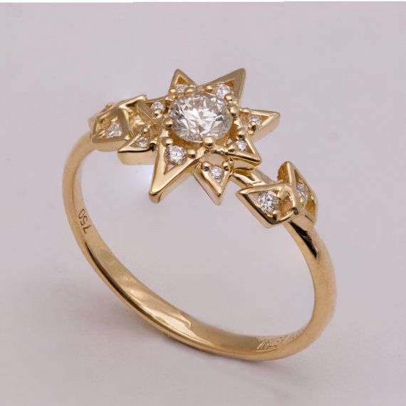 Diamond Art Deco Star Engagement Ring Unique Antique Vintage Of Thrones Jewelry