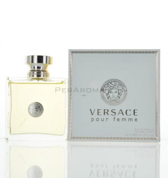 VERSACE Pour Femme by VERSACE Eau de Parfum 3.4 oz 100 ml Spray VERSACE POUR FEMME BY VERSACE?Eau de Parfum 3.4 oz 100 ml Spray,This is a blend of fresh morning dew with purple wisteria, tropical, guava, and white lilacs; middle notes are Angel wing jasmine, lotus flowers, orchid, and azaleas. Base notes are Vetiver, cedarwood, and musk.