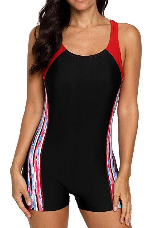4f5f25462ac17 beautyin Women s One Piece Swimsuits Boyleg Sports Swimwear at Amazon  Women s Clothing store
