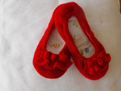 Slippers from a felted sweater