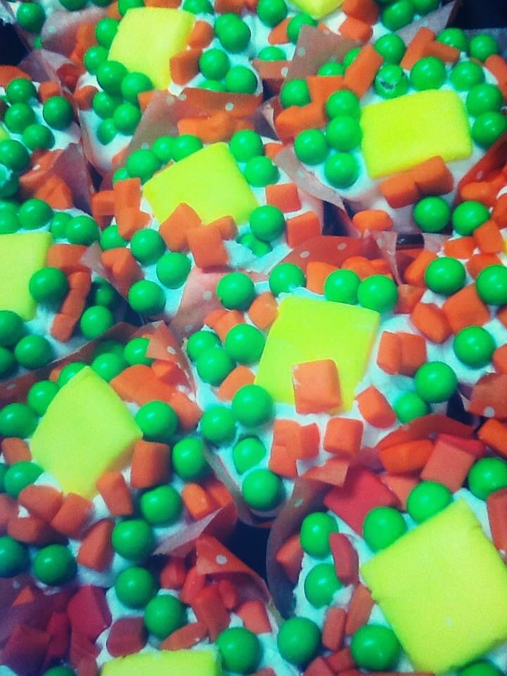 Peas and carrots cupcakes add with starburst and sixlets