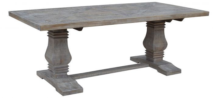 """Tuscany"" White Wash Parquetry Solid Hardwood Dining Table with Pedestal Base Mango Wood Timber - Available in 3 Sizes"