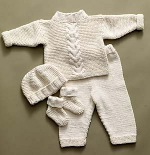 This darling set includes a hat, booties, sweater, and pants for your little one. (Lion Brand Yarn)