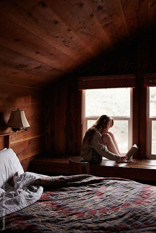 """""""The bed, with a nightstand on each side, fit compactly against the wall under the sloping ceiling. . .Windows made up the far wall."""" Description of Lilly's bedroom #ChillFactor"""