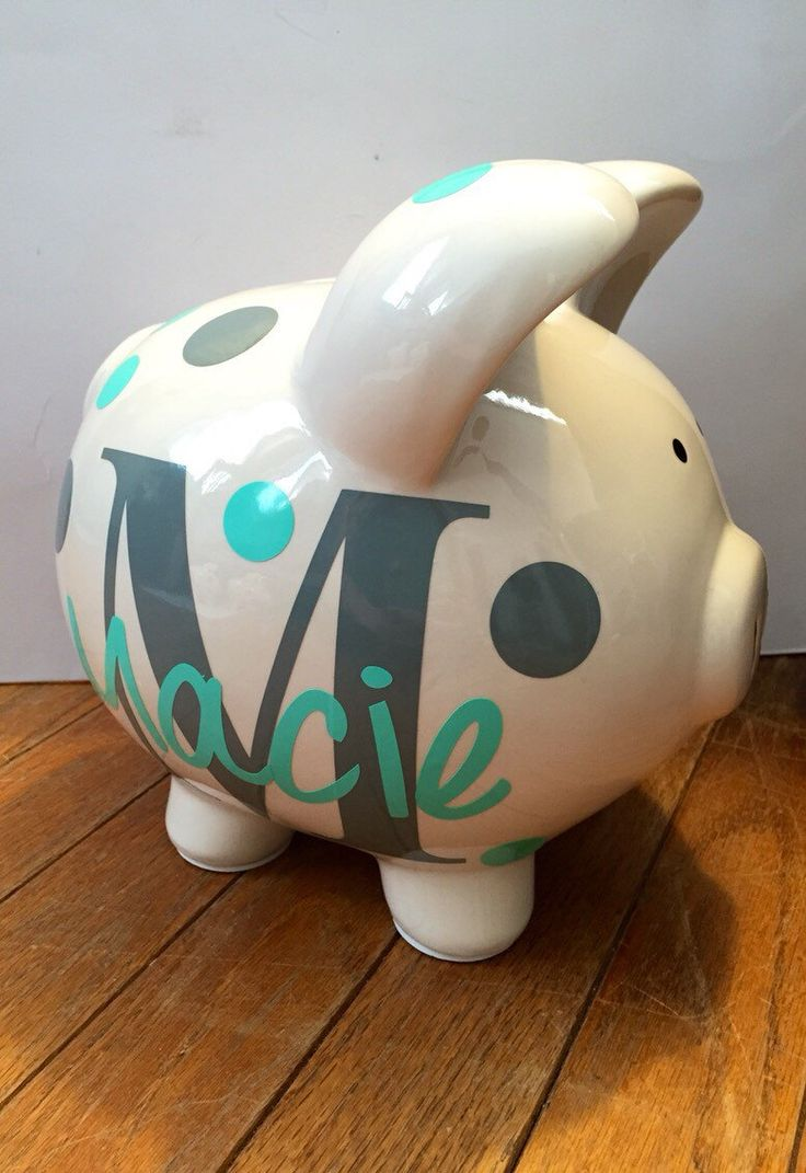 Personalized Piggy Bank by BitsNPiecesBySK on Etsy https://www.etsy.com/listing/228188904/personalized-piggy-bank