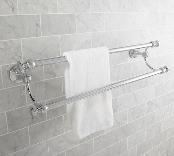 Mercer Double Towel Bar 24 Quot Chrome Finish Bathroom