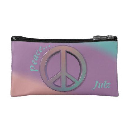 Peace Pastel Personalized Makeup Bag - gift for her idea diy special unique