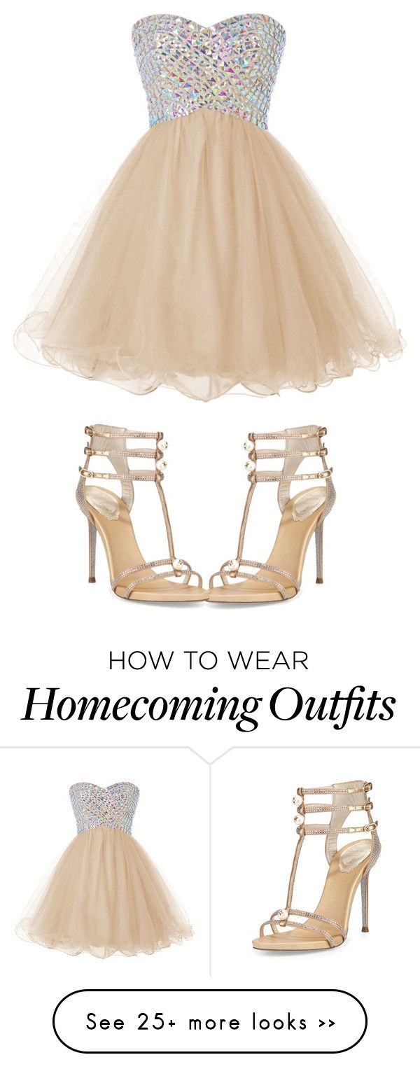 """""""Dress and shoes goals for my homecoming"""" by mylittlecurlyboy on Polyvore featuring René Caovilla"""