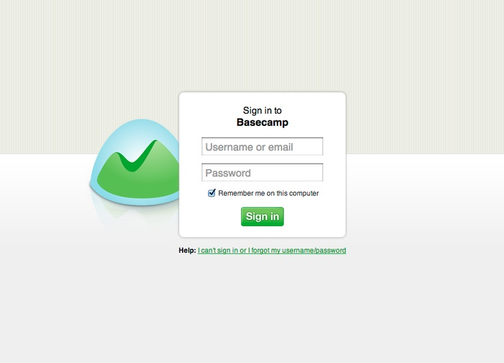 Elegant Basecamp login page