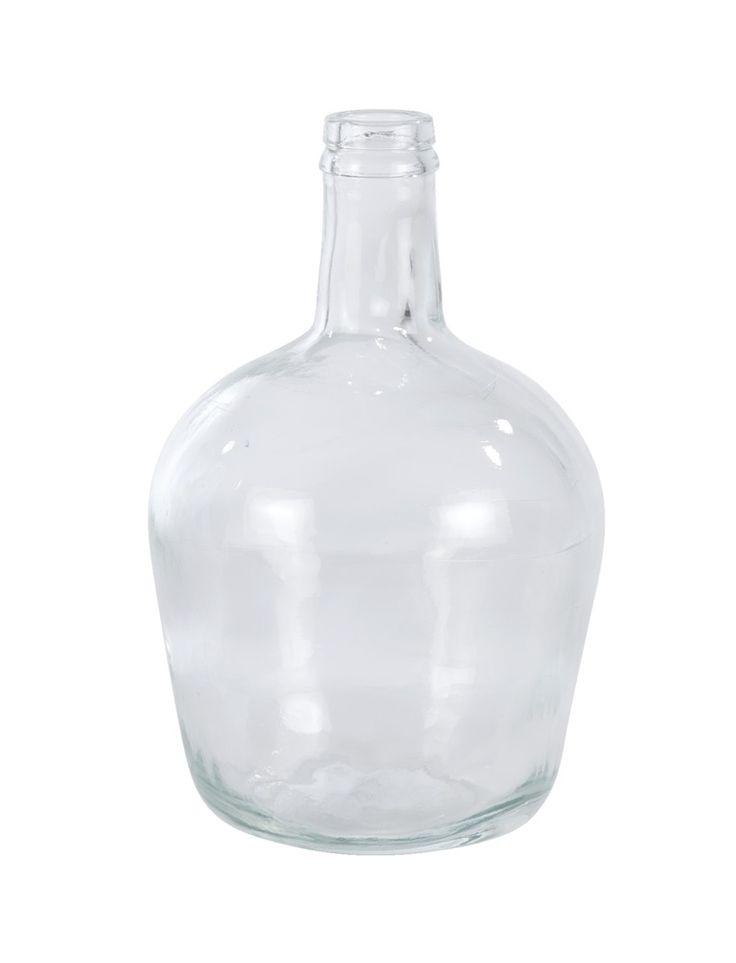 Vaas Recycled glas: flesvaas van helder glas. Combineer meerdere vazen met elkaar op een stoer dressoir of bankje #winter