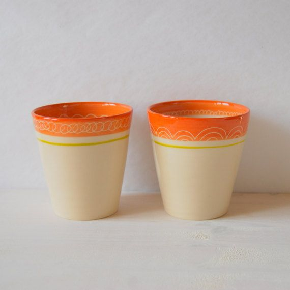 Big mugs Ceramic tumblers Lemonade cups Orange cups by PotsbyNives