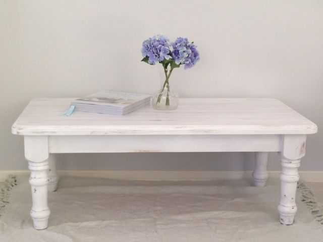 A gorgeous white washed rectangular coffee table. Painted furniture. Shabby chic. Refurbished. Revamp. Distressed. DIY