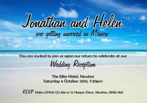 100 PERSONALISED WEDDING/EVENING SAND/BEACH/ABROAD RECEPTION INVITATIONS