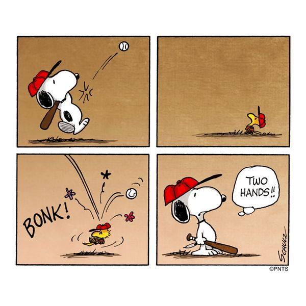 Baseball with snoopy and woodstock