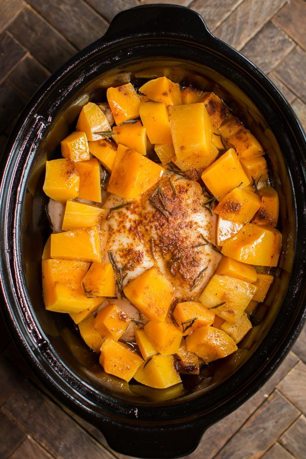 Slow Cooker Rosemary Chicken with Butternut Squash