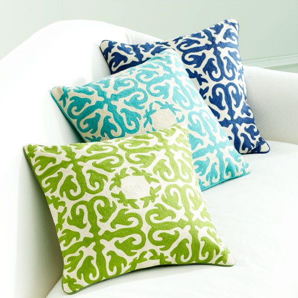 Moroccan Pillows woven in a crewel stitch with wool thread. Beautiful!