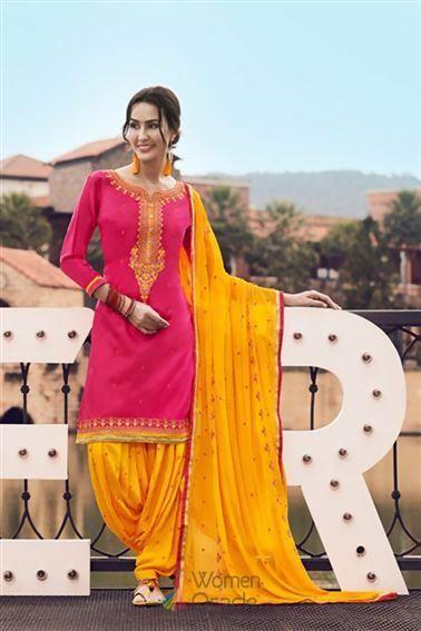 c706101c4a #trendygowns #anarkalistyle #bridalboutique #ukbridal #weddingdress  #indianbridel #mermaids #celebritylook Pink Satin with Embroidered work  Trendy ...