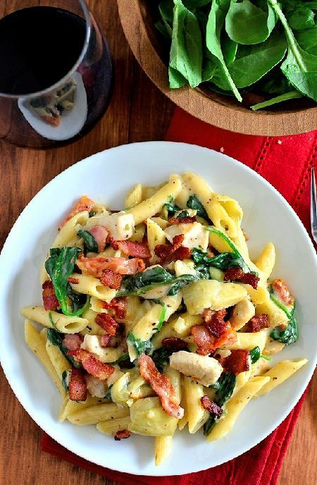 Low FODMAP Recipe and Gluten Free Recipe - Turkey, bacon and spinach pasta   http://www.ibs-health.com/low_fodmap_turkey_bacon_pasta.html