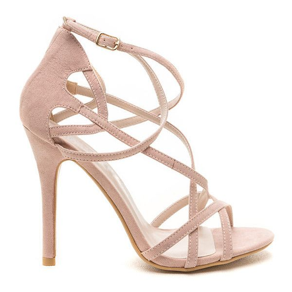 Crisscross Country Faux Leather Heels NUDE ($26) ❤ liked on Polyvore featuring shoes, pumps, tan, high heel pumps, nude pumps, cross country shoes, vegan shoes and stilettos shoes