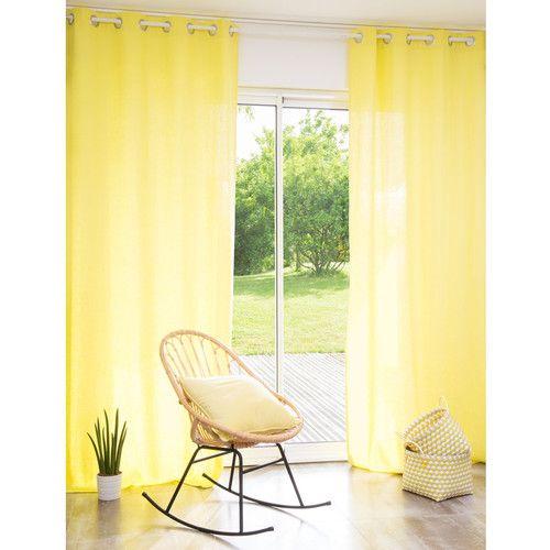 Tenda gialla in lino slavato con occhielli 110 x 250 cm