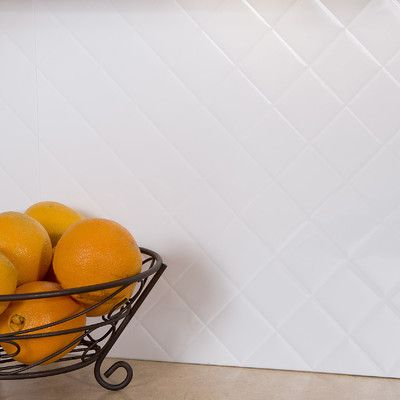 "Fasade Quilted 18.25"" x 24.25"" PVC Backsplash Panel Kit in Gloss White"