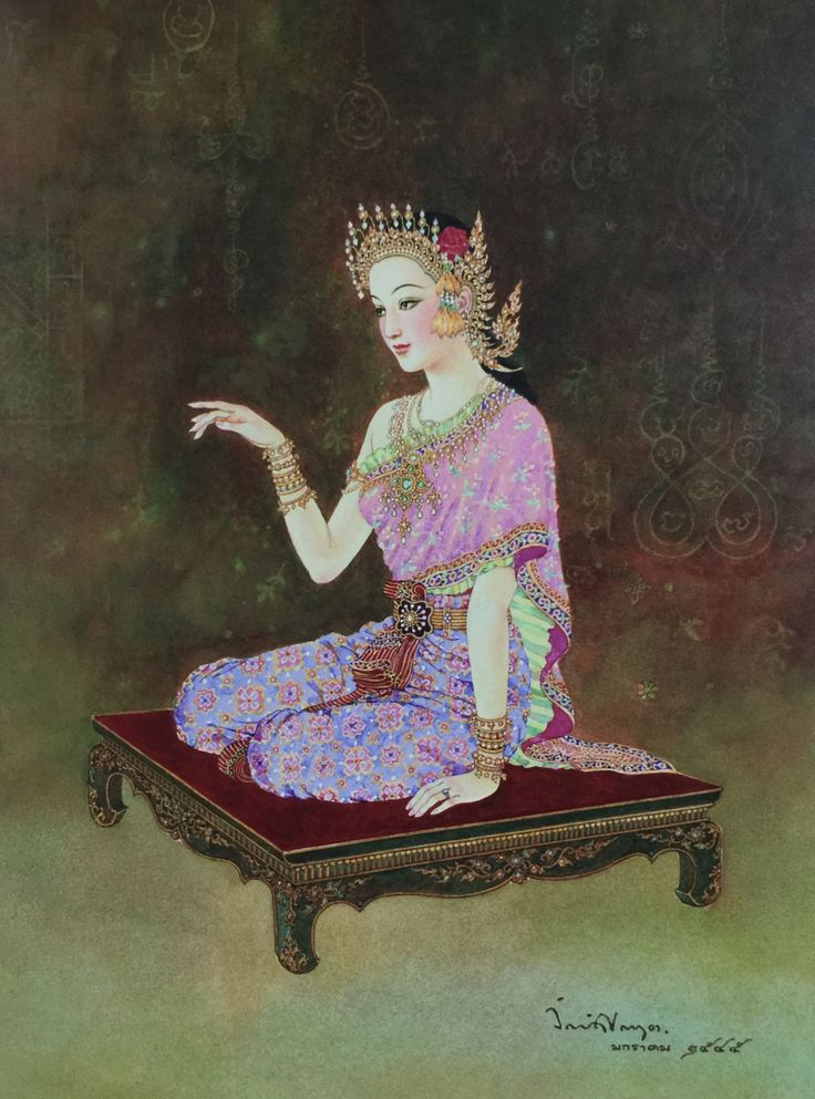 """""""Lady Luck on reddish background"""", 2002, gouache on paper, by Chakrabhand Posayakrit, a Thai national artist"""