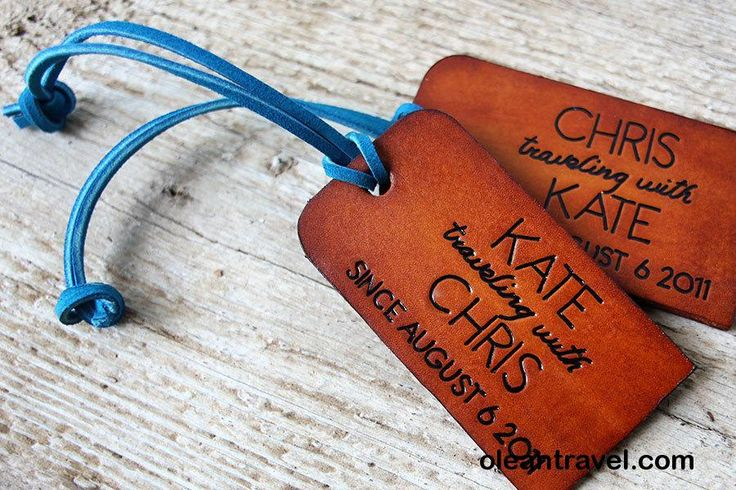 His and Hers Traveling With Leather Luggage Tags - Set of TWO - Couples Luggage Tags - Personalized - 3rd Wedding Anniversary - Leather Gift - http://oleantravel.com/his-and-hers-traveling-with-leather-luggage-tags-set-of-two-couples-luggage-tags-personalized-3rd-wedding-anniversary-leather-gift