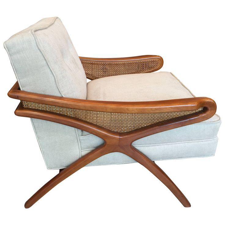 Mid-Century Sculptural Club Chair with Rattan Detail