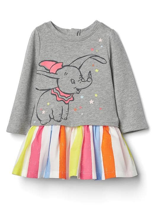 Disney Baby Dumbo graphic drop-waist dress