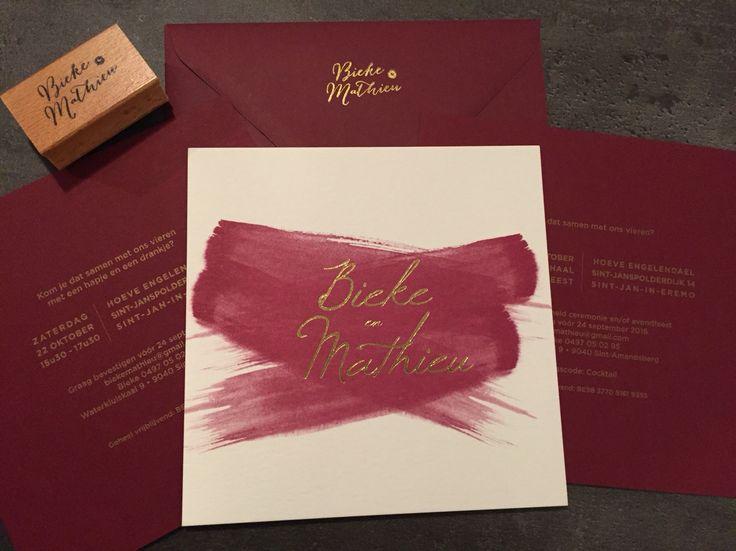 Wedding invite burgundy bordeaux paintbrush gold stamp