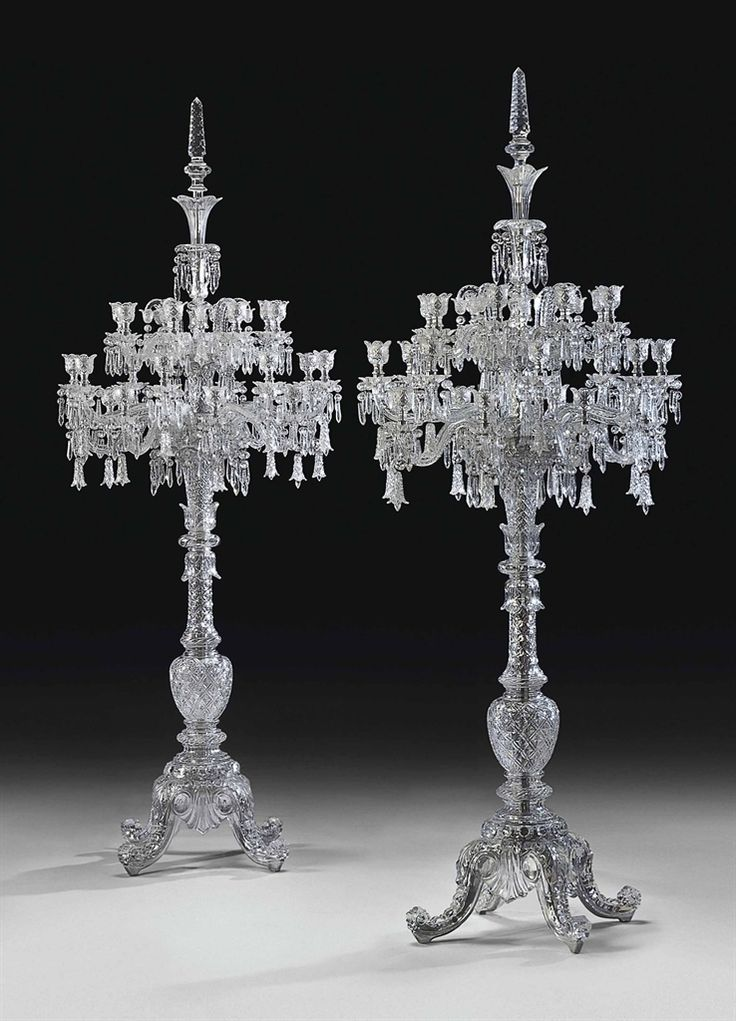 A large pair of French cut-crystal twenty-four-light torcheres by Cristalleries de Baccarat, Paris, 20th Century #Baccarat