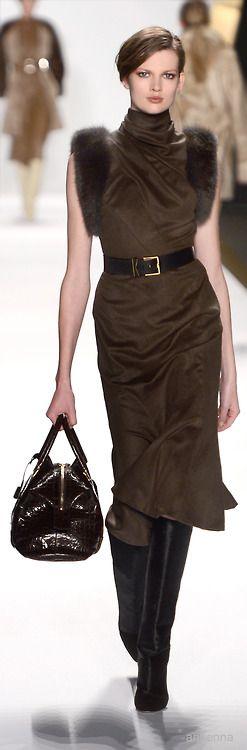 Draped turtleneck dress with fur.  J. Mendel Fall 2013. Model Bette Franke