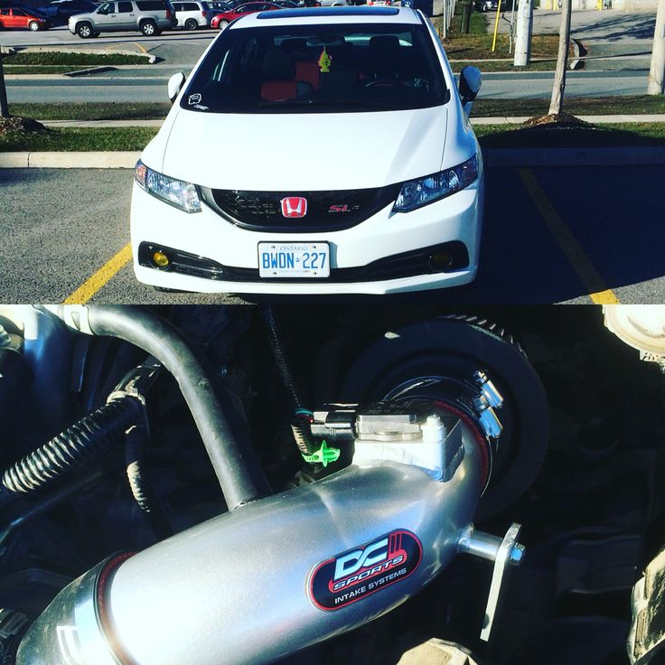 2015 Honda Civic Si. Fb6 k24z7 9th gen. New #DCsports #shortram #airintake #honda #civic #vtec #si #clean #tuckedmirrors #white #sedan #fresh #domo #2015 #ivtec #mint
