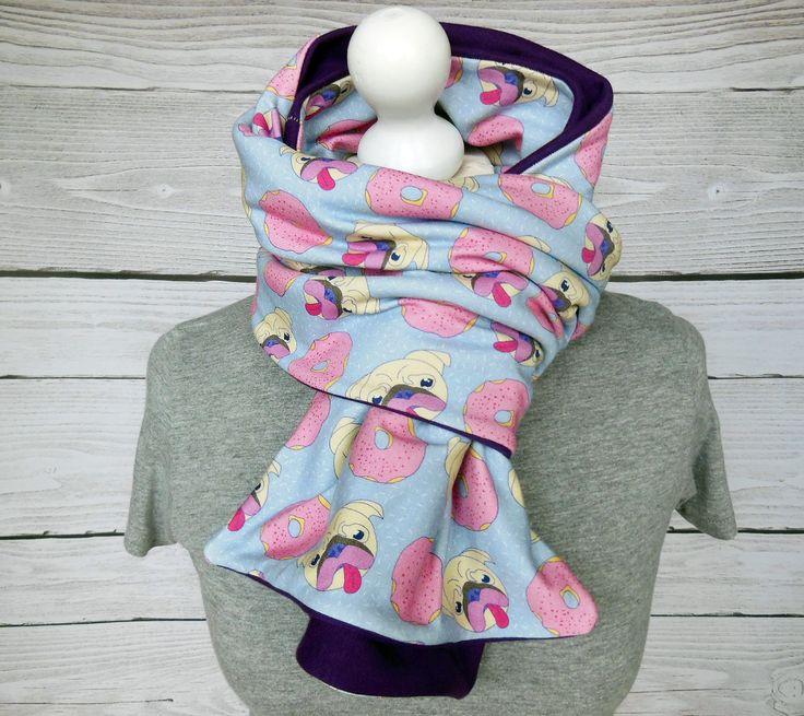 Carlins donauts écharpe longue, chiens gateaux foulard violet rose bleu pastel, bcp de tissus : Echarpe, foulard, cravate par atelier-mademoiselle-k