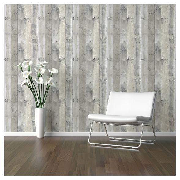 Reclaimed Wood Peel Stick Wallpaper Gray Threshold In 2020 Peel And Stick Wallpaper Reclaimed Wood Wallpaper Reclaimed Wood
