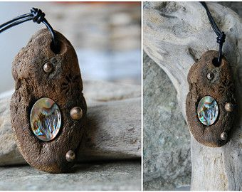 driftwood one of a kind ocean abalone pendant, bronze, tribal wood, sea wood pendant, abalone wood, hippie, boho, earthy, ocean, psy