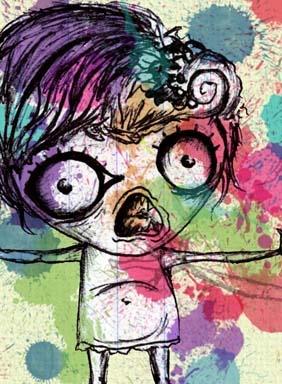 Pen drawing doll, watercolor brush background ! RAWR by Zahira Zorrilla