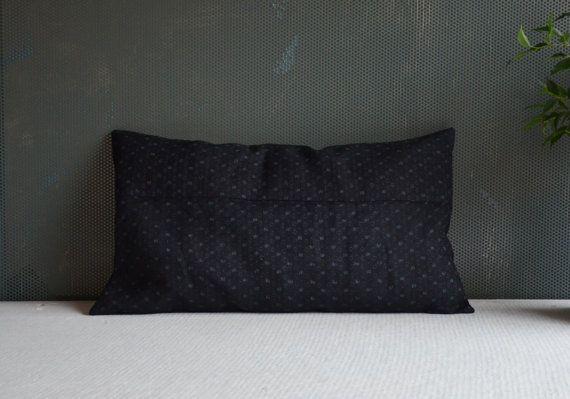 Indigo cushion cover 12 x 20 antique Japanese by EthicalLifeStore