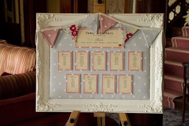 Cath Kidston inspired table plan, we have also seen chair sashes to match!  Very vintage.