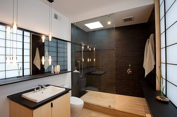 Black white bathroom Asian inspired tile walk in shower frameless shower doors