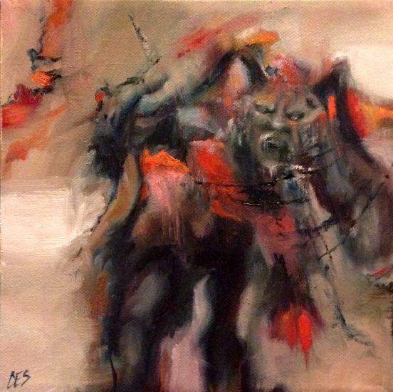 Original Oil PAINTING CES- Dark Art Scary Krampus Horror Christmas NFAC Art Sale #MyStyle