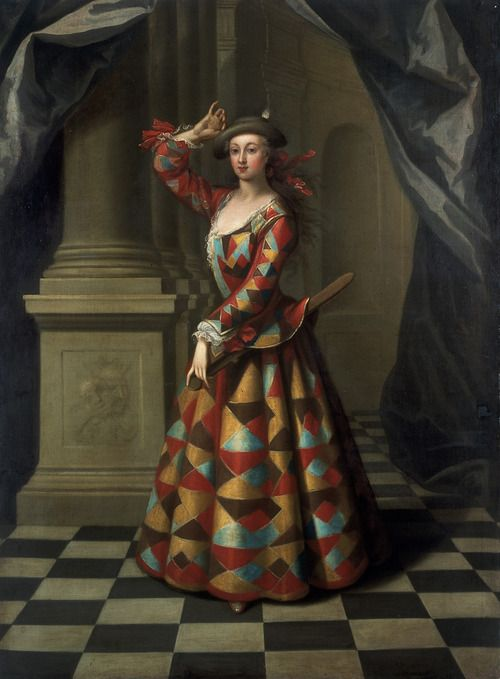 Hester Booth as Harlequin Woman, by John Ellys, 1722-1725.