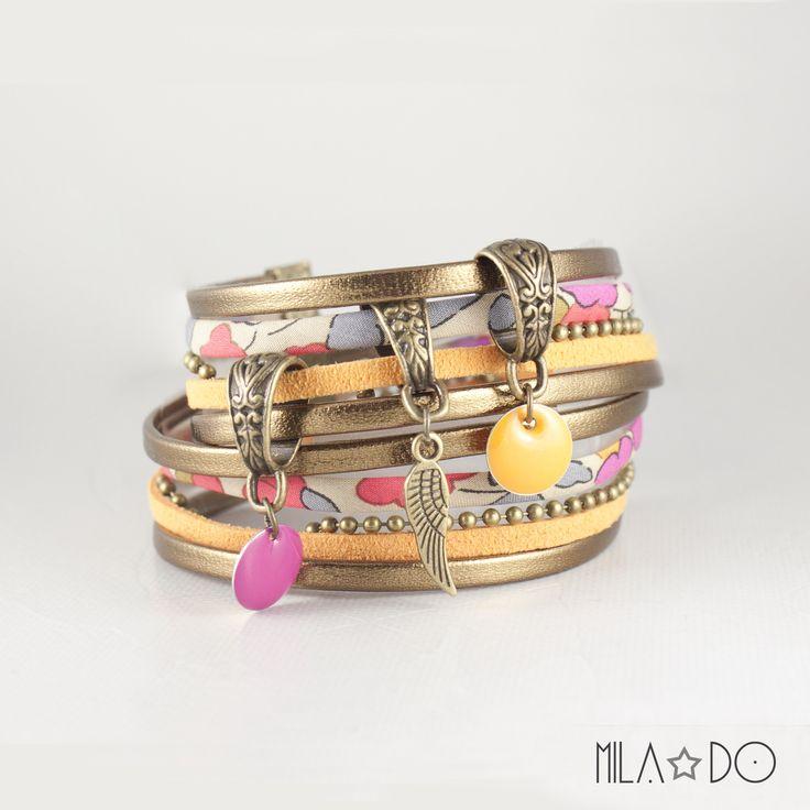 Bracelet manchette India orange, rose et bronze    Aile bronze sequin émail rose et orange : Bracelet par mila-do