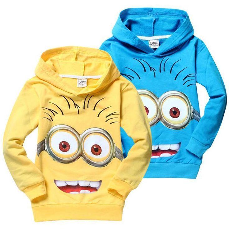 Venda Por Atacado Baratos 2015 Me Minions A Roupa Das Crianças Hoodies 2 Cores Amarelo / Azul De Bebé Em Camisolas Da Qualidade Coats Primavera Outono Roupas Crianças Em Beautydesign, $8.49 Em Pt.Dhgate.Com | Dhgate